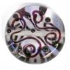 Glass Lamp Bead 20mm Round Crystal/Black